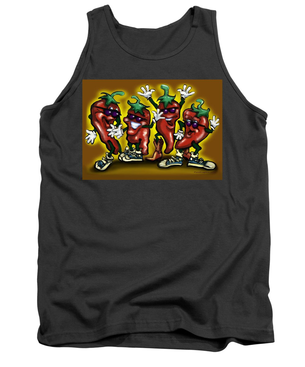 Hot Tank Top featuring the digital art Hot Peppers by Kevin Middleton
