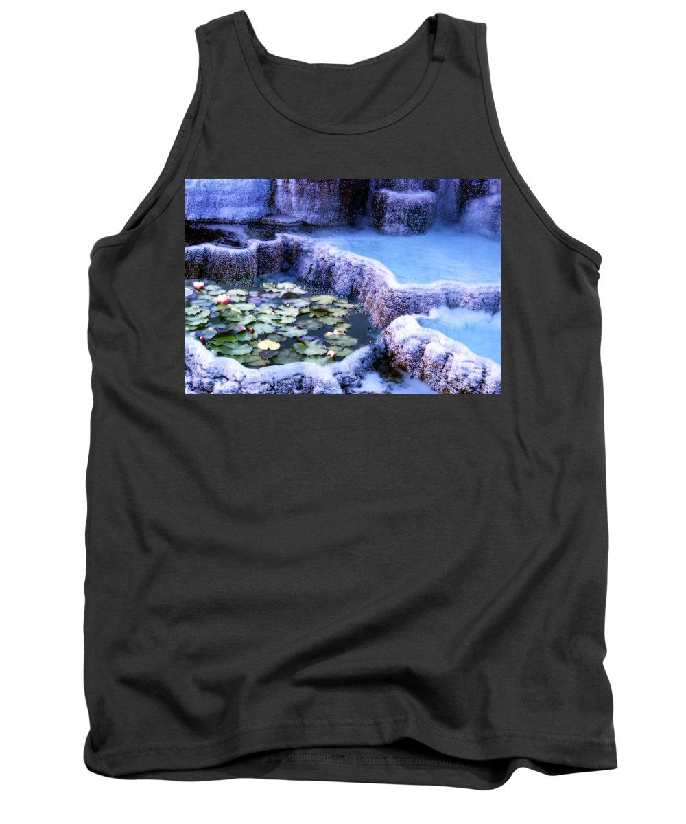 Lily Tank Top featuring the photograph Hot Springs And Lilies by Wayne King