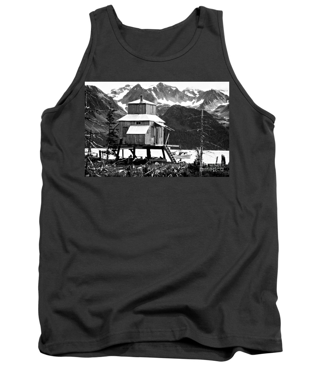 Alaska Tank Top featuring the photograph House Of Stilts Bw by James BO Insogna