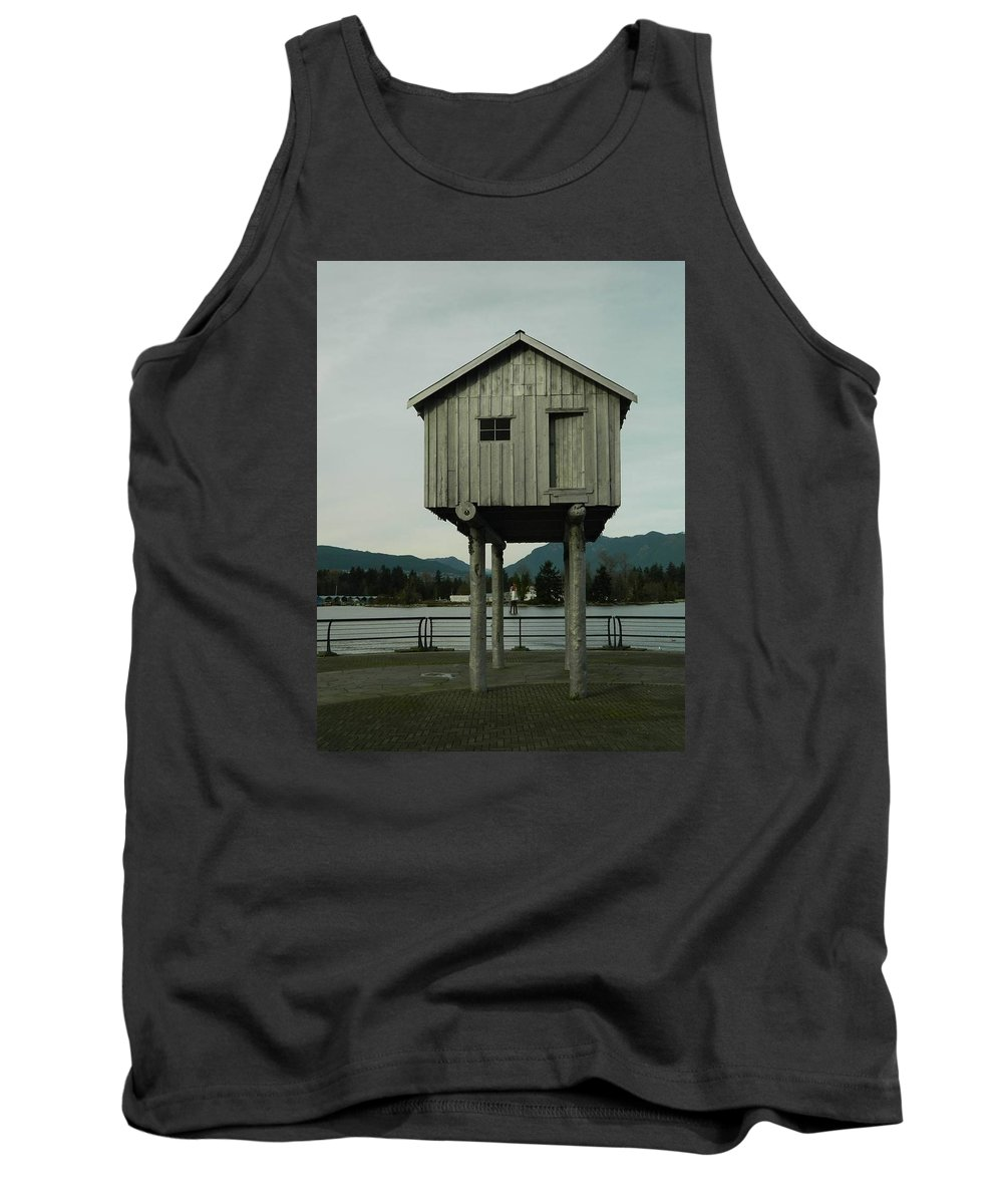 Vancouver Tank Top featuring the photograph House On Stilts, Coal Harbour Vancouver by Helen Orth