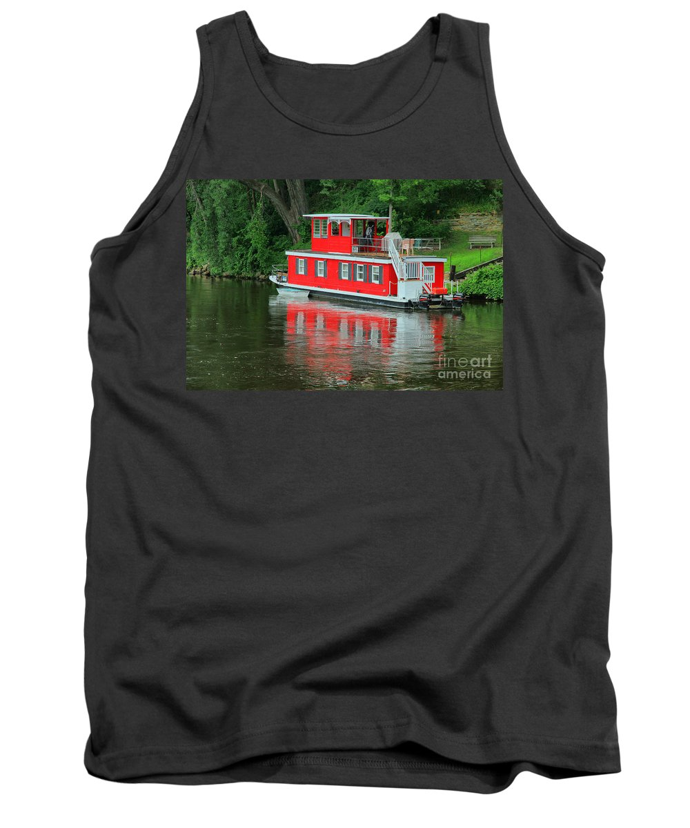 Boat Tank Top featuring the photograph Houseboat On The Mississippi River by Teresa Zieba