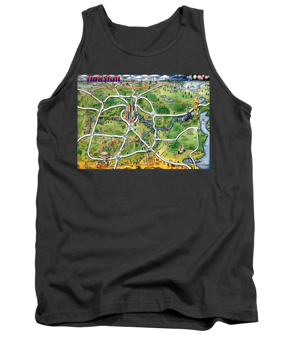 Houston Tank Top featuring the painting Houston Texas Cartoon Map by Kevin Middleton