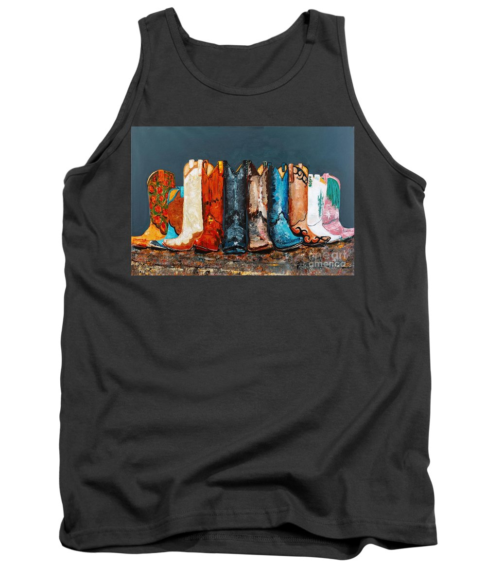 Cowboy Boots Tank Top featuring the painting How The West Was Really Won by Frances Marino