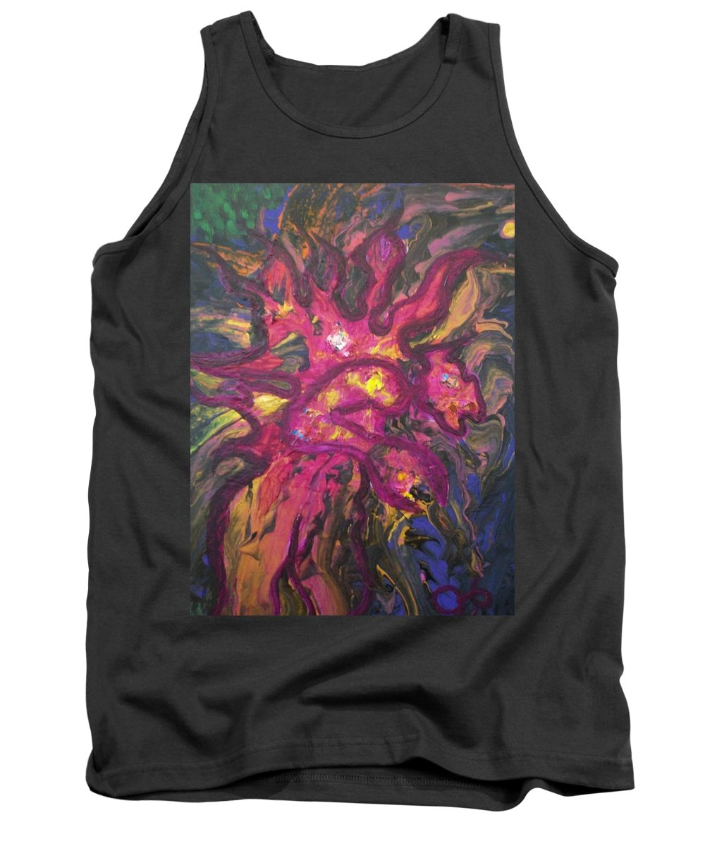 Fantasy Character Tank Top featuring the painting Huffalon Nekkid In The Wood by Laurette Escobar
