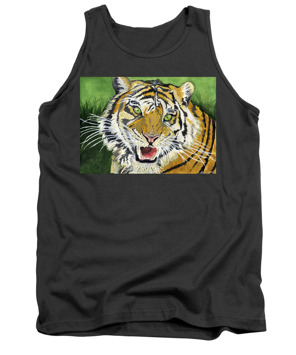 Tiger Tank Top featuring the painting Hungry Tiger by Alban Dizdari