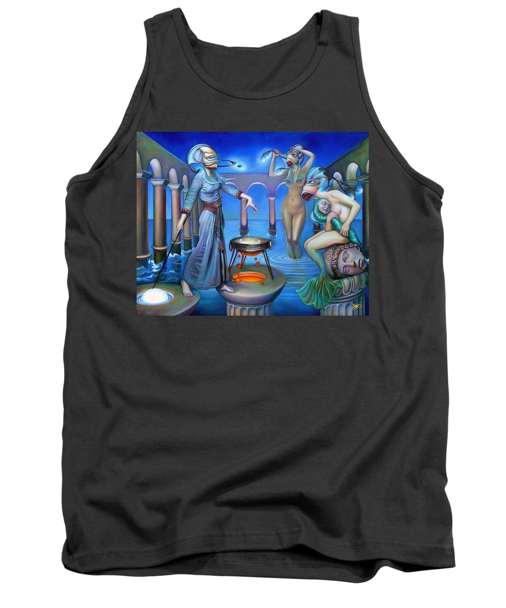 Mermaid Tank Top featuring the painting Hydromeda's Kitchen by Patrick Anthony Pierson