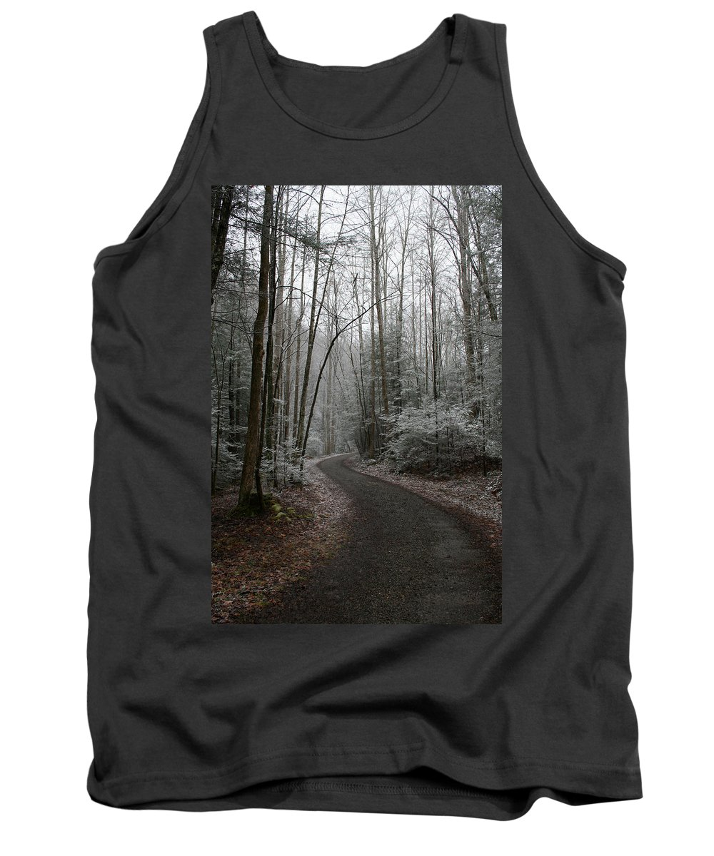 Nature Road Country Woods Forest Tree Trees Snow Winter Peaceful Quite Path White Forest Drive Tank Top featuring the photograph I Am The Way by Andrei Shliakhau