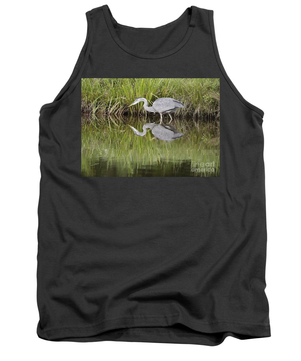Heron Tank Top featuring the photograph I Can See My Reflection by Deborah Benoit