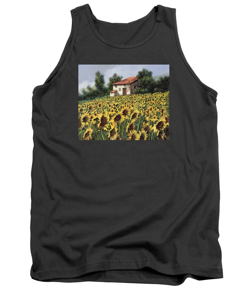 Tuscany Tank Top featuring the painting I Girasoli Nel Campo by Guido Borelli