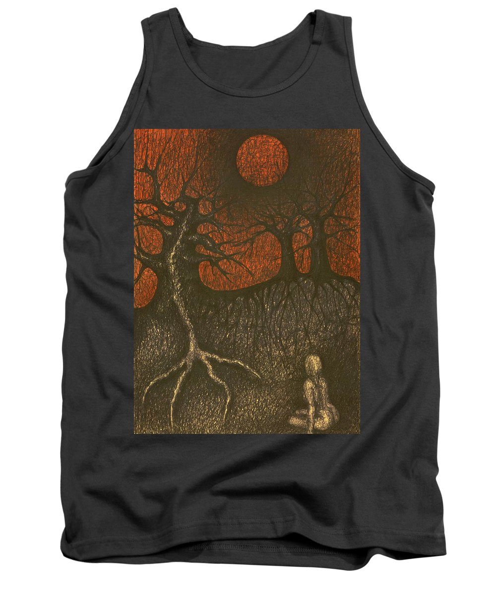 Colour Tank Top featuring the drawing I In Night Think About You by Wojtek Kowalski
