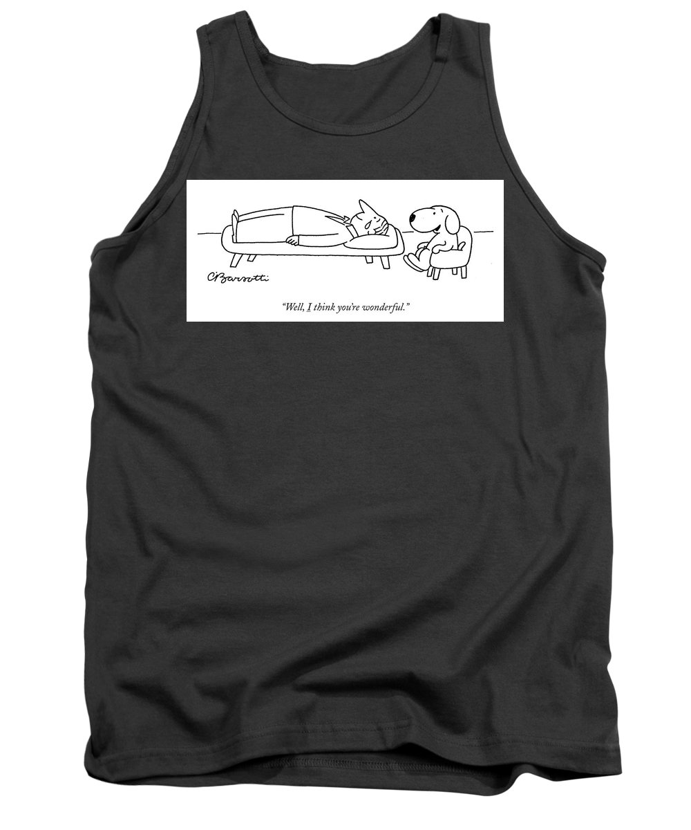"""""""well Tank Top featuring the drawing I think you are wonderful by Charles Barsotti"""