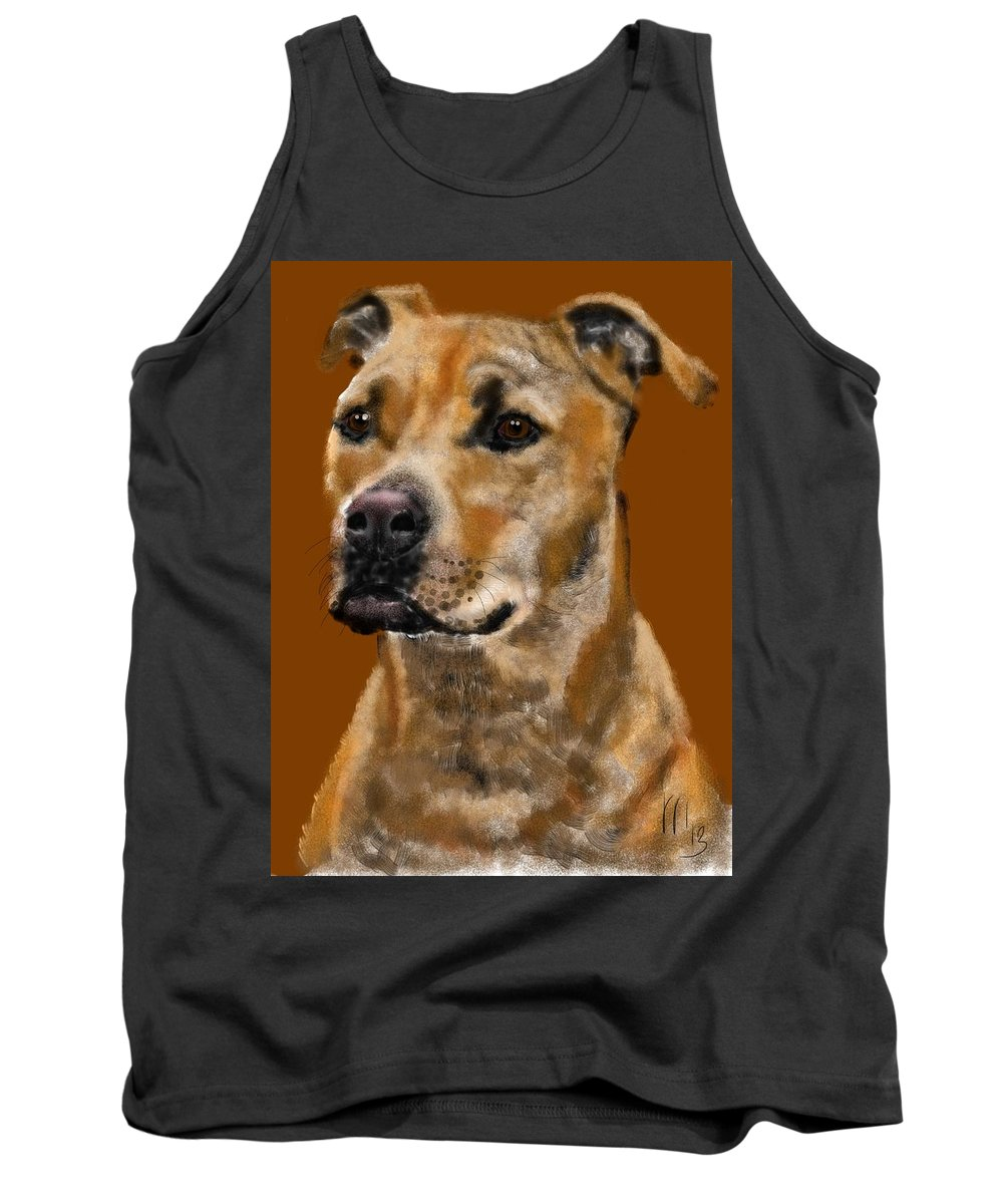 Animals Tank Top featuring the painting I Wonder What He's Thinking by Lois Ivancin Tavaf