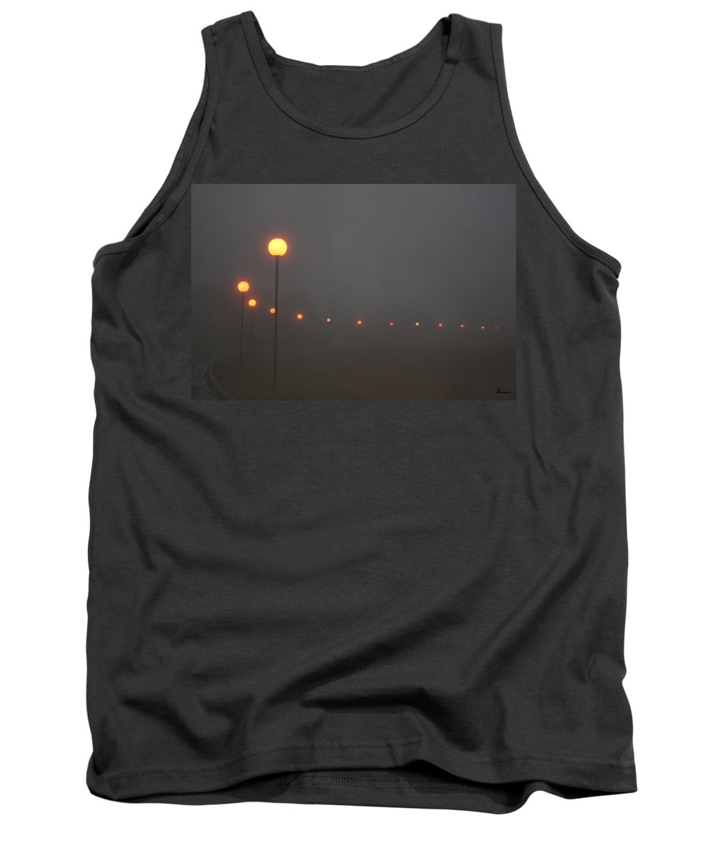Ice Fog Park Lamps Misty Cold Weather Eerie Tank Top featuring the photograph Ice Fog And Park Lamps by Andrea Lawrence