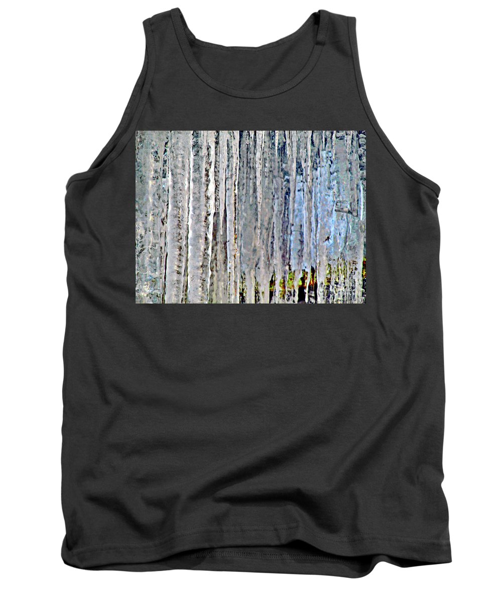 Ice Sickles Tank Top featuring the photograph Ice Sickle Curtains by Don Baker
