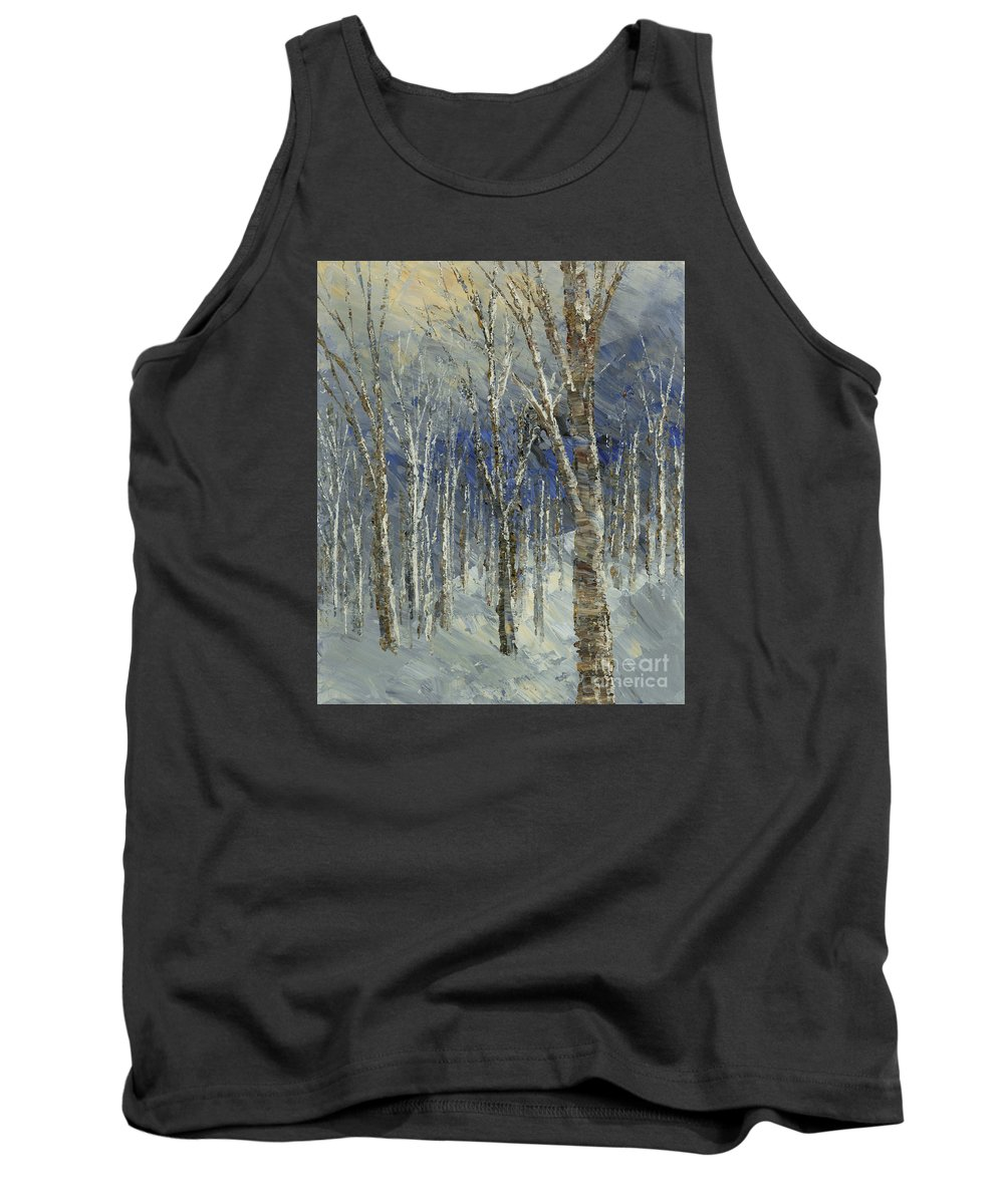 Forest Tank Top featuring the painting Icy Bells by Tatiana Iliina