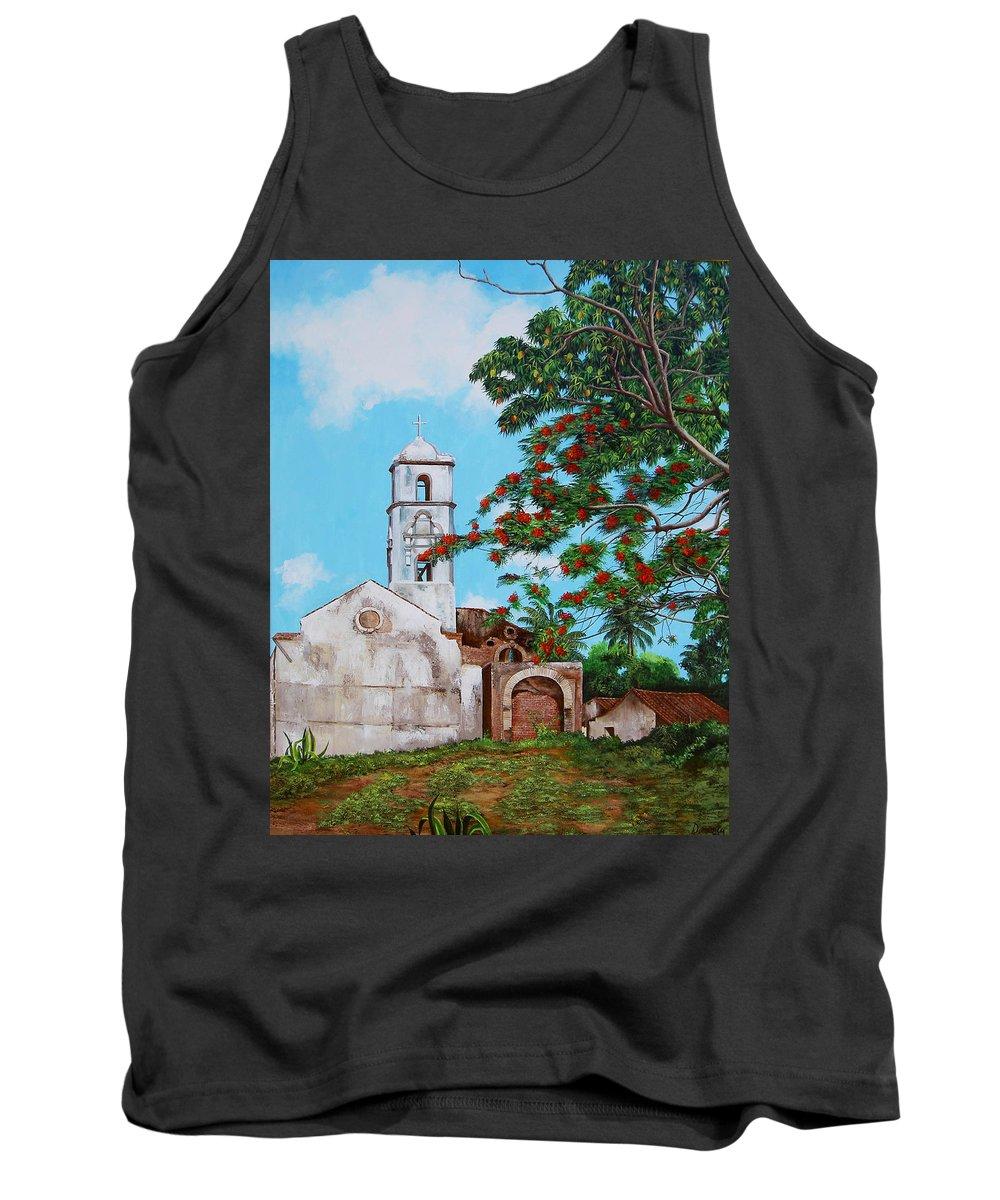 Cuban Painter Tank Top featuring the painting Iglesia De Santa Anna by Dominica Alcantara