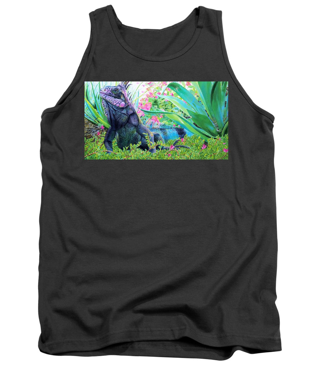 Lizard Tank Top featuring the painting Iguana by Denny Bond