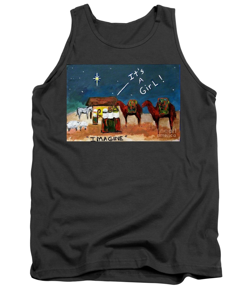 Christmas Card Tank Top featuring the painting Imagine by Frances Marino