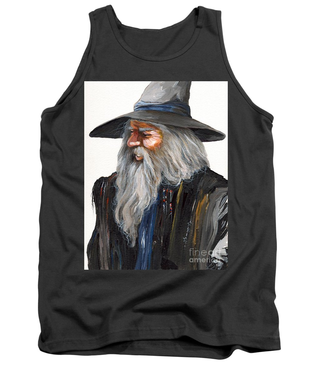 Fantasy Art Tank Top featuring the painting Impressionist Wizard by J W Baker
