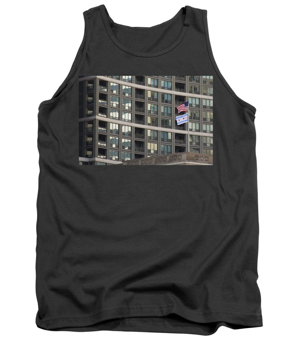 Chicago Windy City Metro Urban Building Windows Flag Reflection Tank Top featuring the photograph In Chicago by Andrei Shliakhau