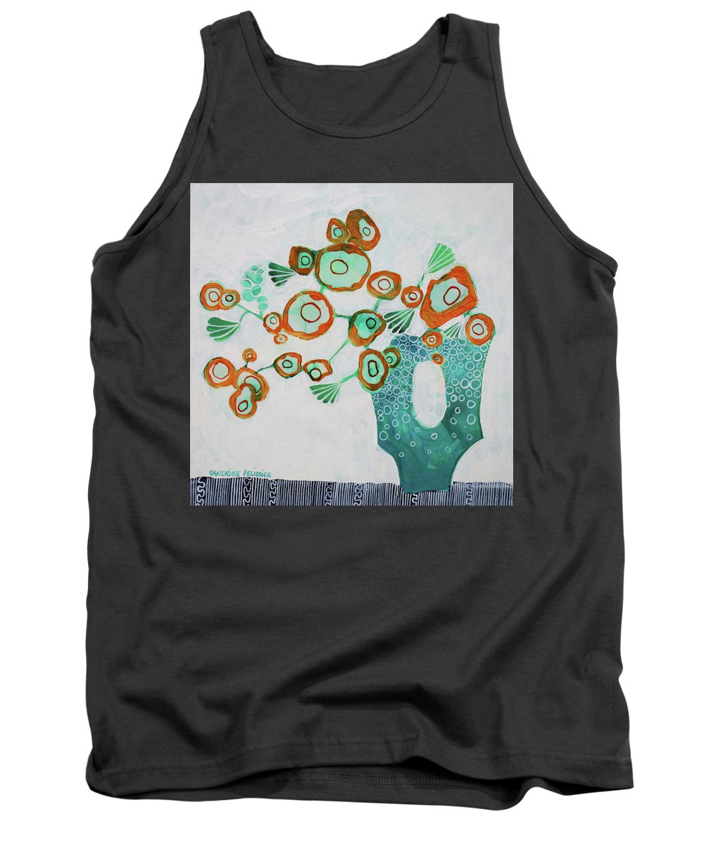 Abstract Flower Paintings Tank Top featuring the painting In Pemberton by Sandrine Pelissier