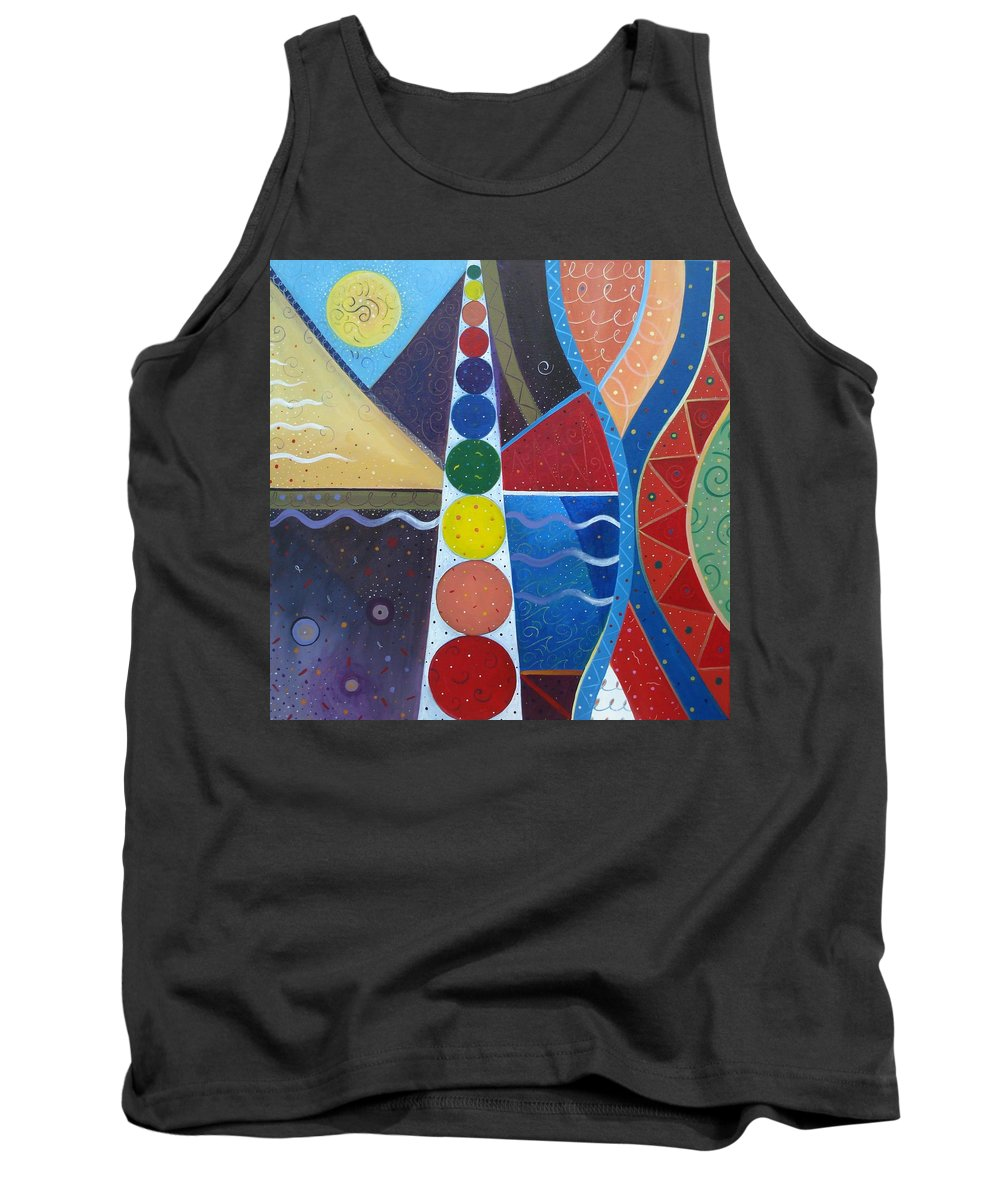 Abstract Landscape Tank Top featuring the painting In The Flow by Helena Tiainen