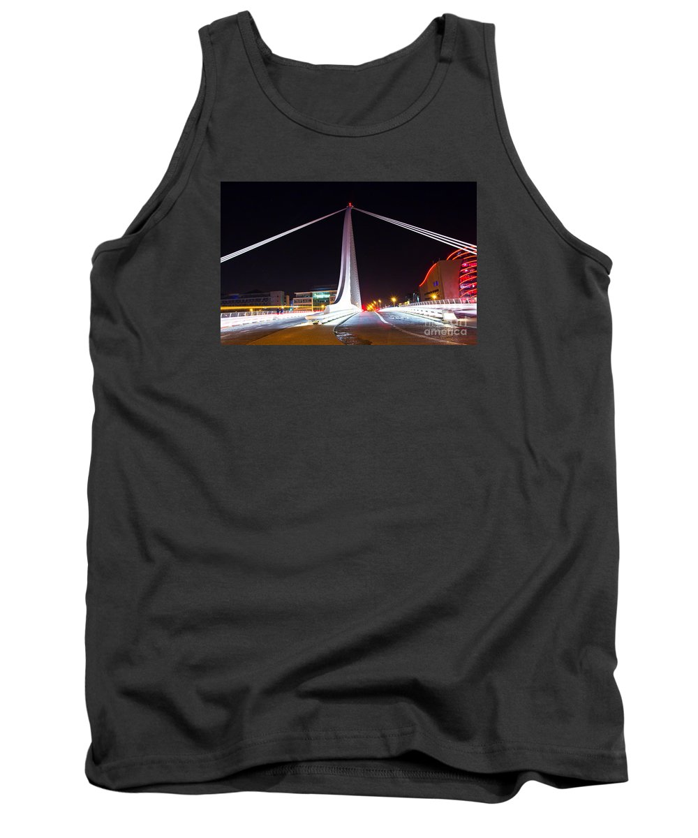 The Convention Centre Reflection Tank Top featuring the photograph In The Middle Of The Speed Danger by Alex Art and Photo