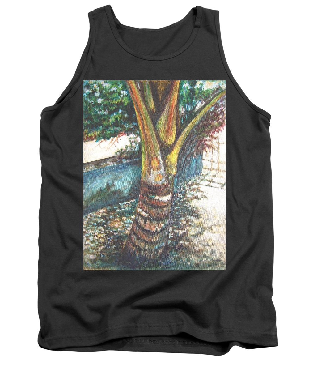 Shade Tank Top featuring the painting In The Shade by Usha Shantharam