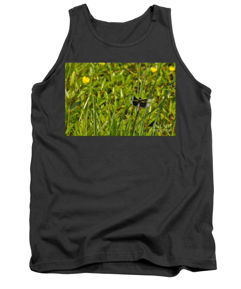 Dragon Fly Tank Top featuring the photograph In The Weeds by Vicky Tubb