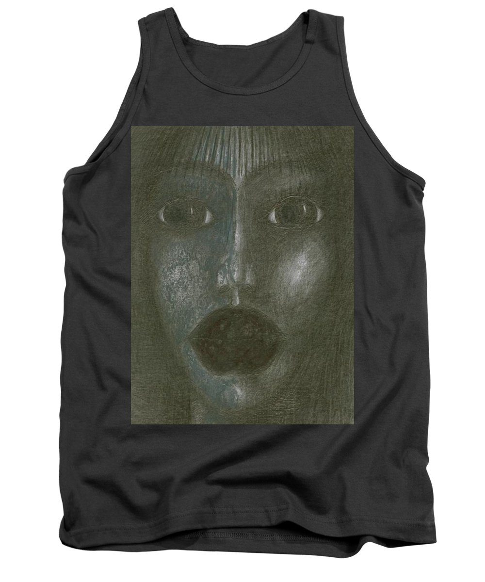 Psychedelic Tank Top featuring the drawing Incredulity by Wojtek Kowalski