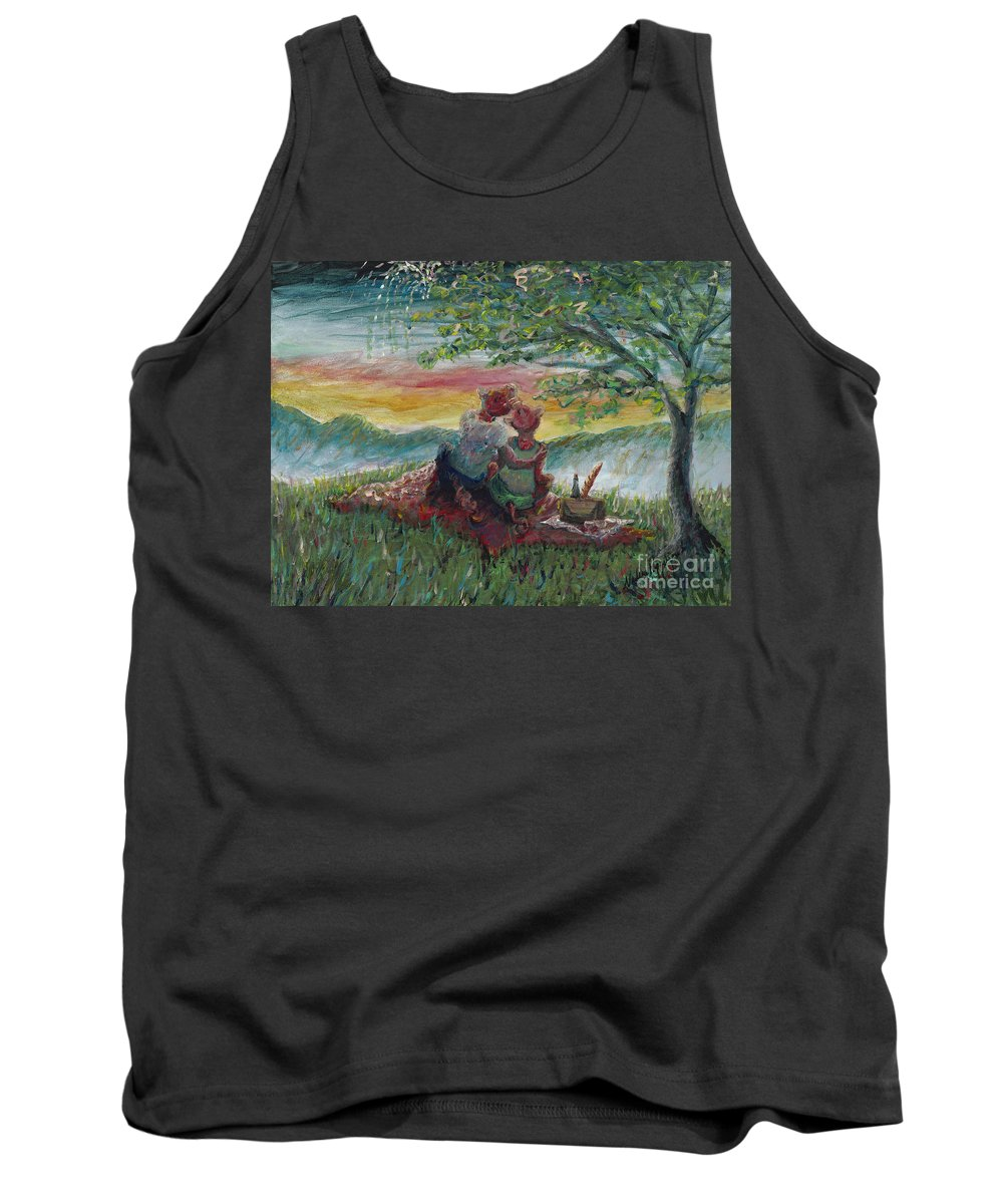 Landscape Tank Top featuring the painting Independance Day Pignic by Nadine Rippelmeyer