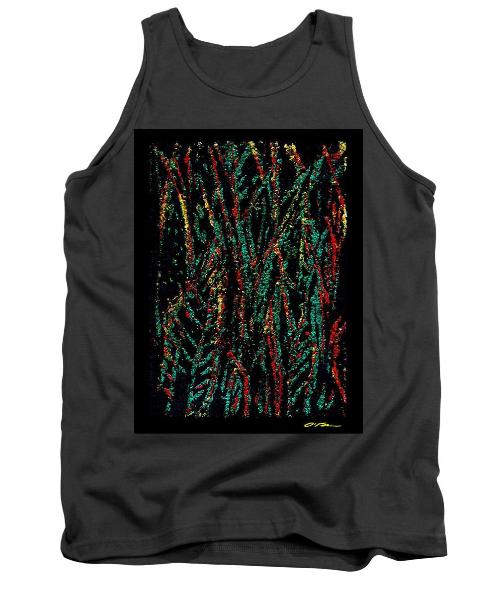Snake Plant Tank Top featuring the mixed media Indian Leaves by Claudia O'Brien