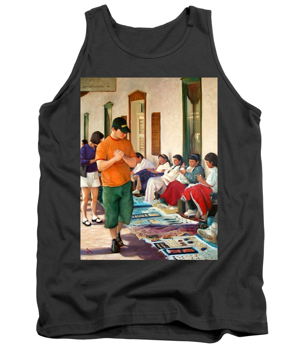 Realism Tank Top featuring the painting Indian Market by Donelli DiMaria