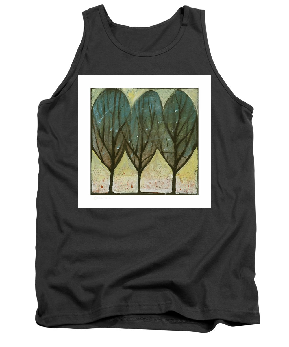 Trees Tank Top featuring the painting Indian Summer Snow by Tim Nyberg
