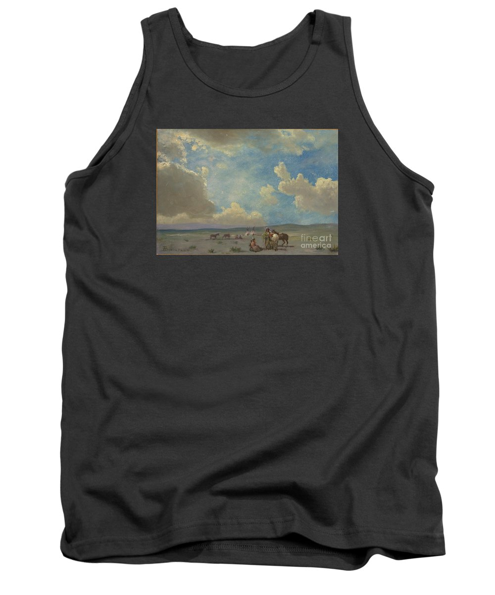 Albert_bierstadt_-_indian_encampment Tank Top featuring the painting Indian_encampment by Celestial Images