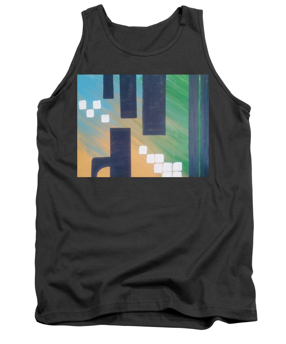 Gray Tank Top featuring the painting Industry by Mary Vuong