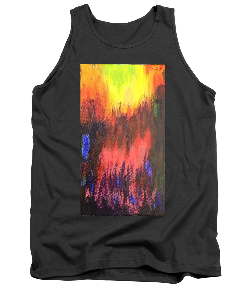 Abstract Tank Top featuring the painting Inferno I by Kari Hunt