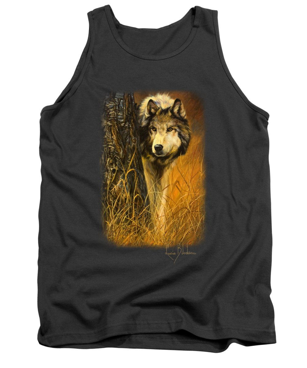 Wolf Tank Top featuring the painting Interested by Lucie Bilodeau