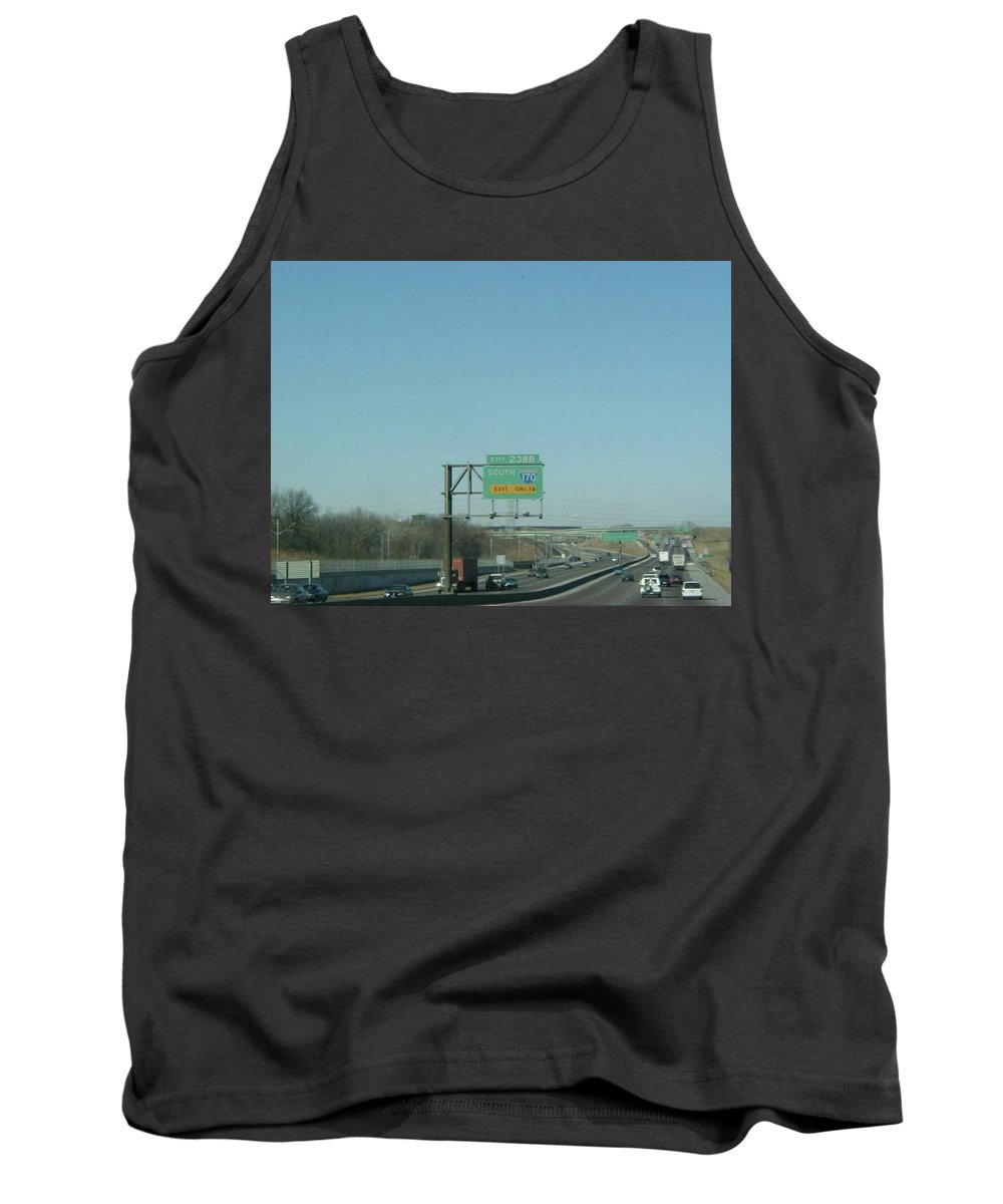St. Louis Tank Top featuring the photograph Interstate 70 West Approach Exit 238b, Interstate 170 South Exit, 1999 by Dwayne