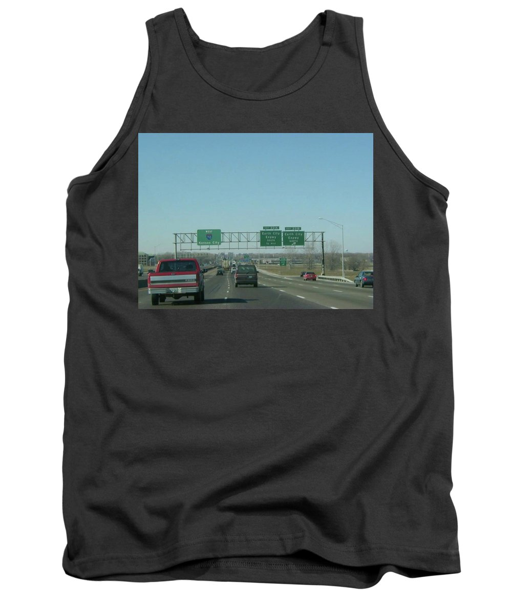 St. Louis Tank Top featuring the photograph Interstate 70 West At Exit 231b, Earth City Expwy North Exit, 1999 by Dwayne