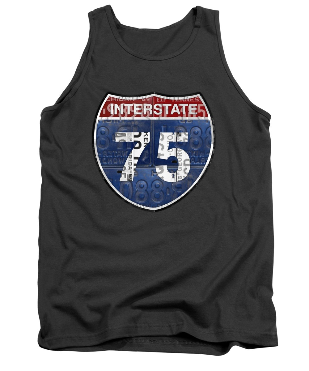 Interstate Tank Top featuring the mixed media Interstate 75 Highway Sign Recycled Vintage License Plate Art On Striped Concrete by Design Turnpike