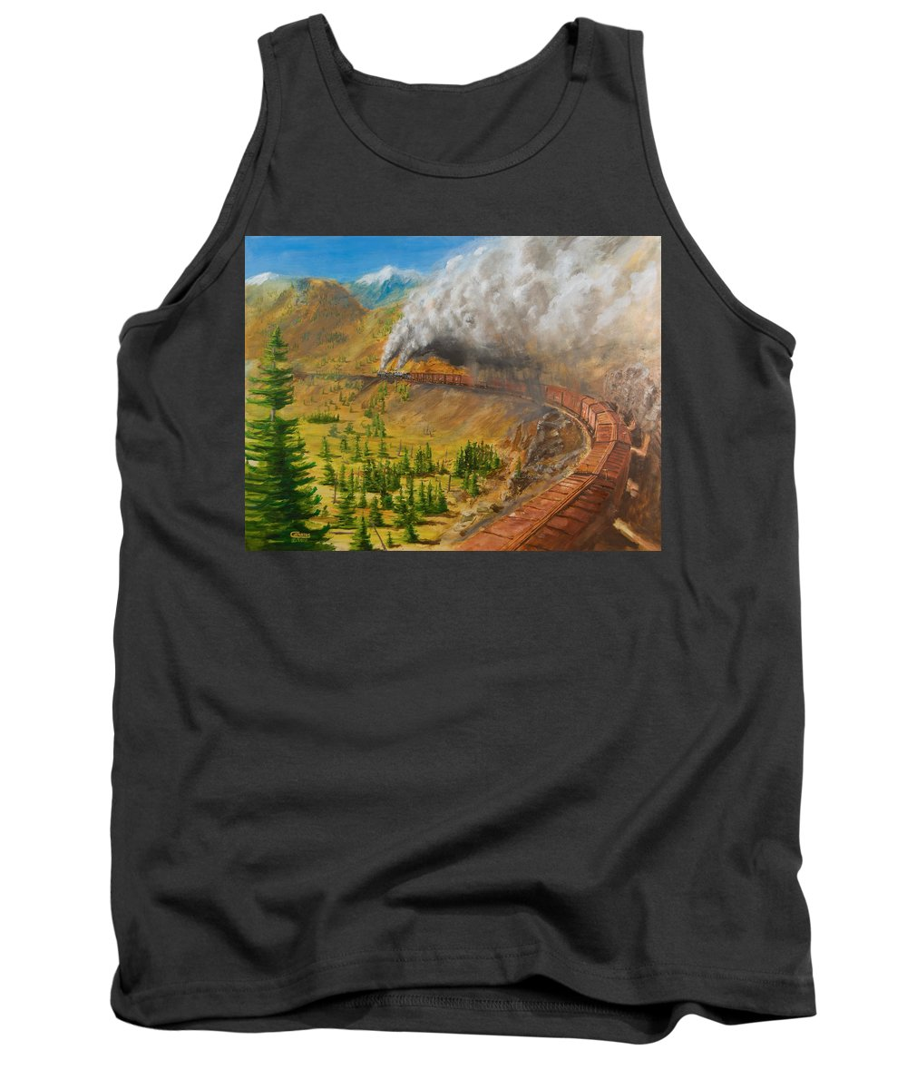 Train Tank Top featuring the painting Into The Front Range by Christopher Jenkins