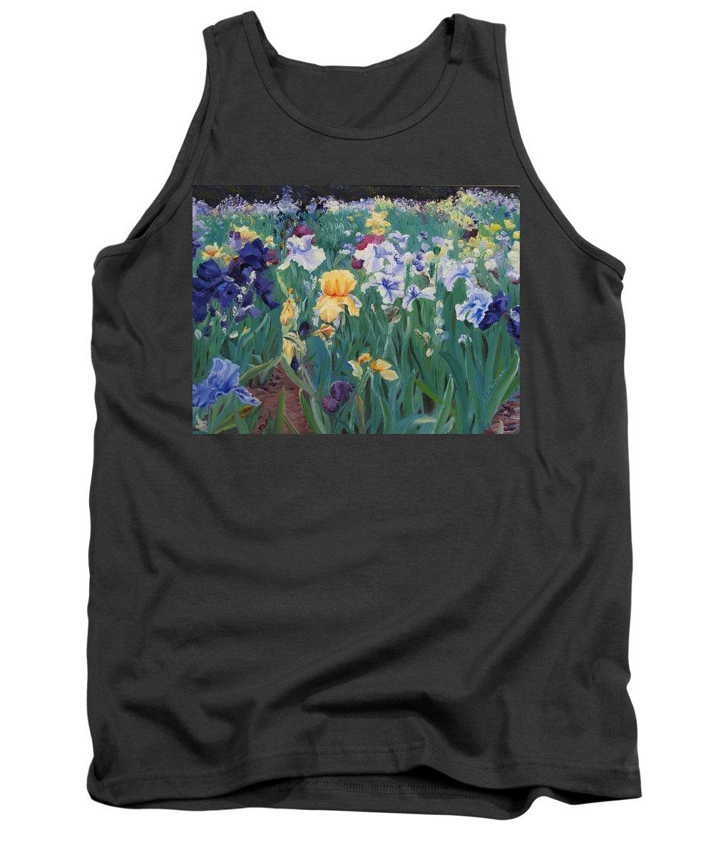 Flower Tank Top featuring the painting Iris Abun-dance by Lea Novak