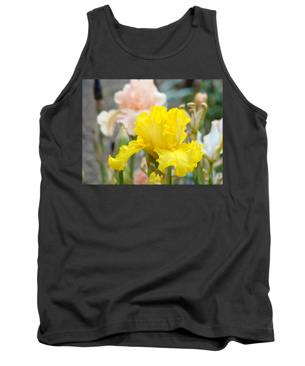 �irises Artwork� Tank Top featuring the photograph Irises Botanical Garden Yellow Iris Flowers Giclee Art Prints Baslee Troutman by Baslee Troutman