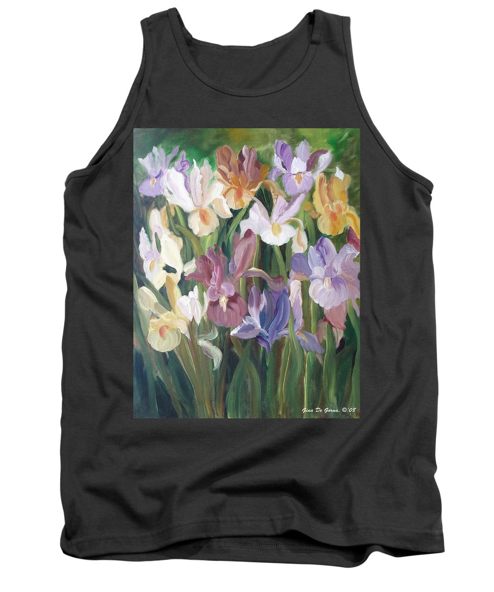 Irises Tank Top featuring the painting Irises by Gina De Gorna