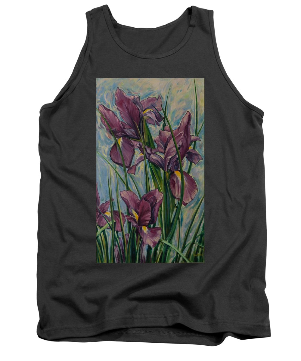 Flowers Tank Top featuring the painting Irises by Rick Nederlof