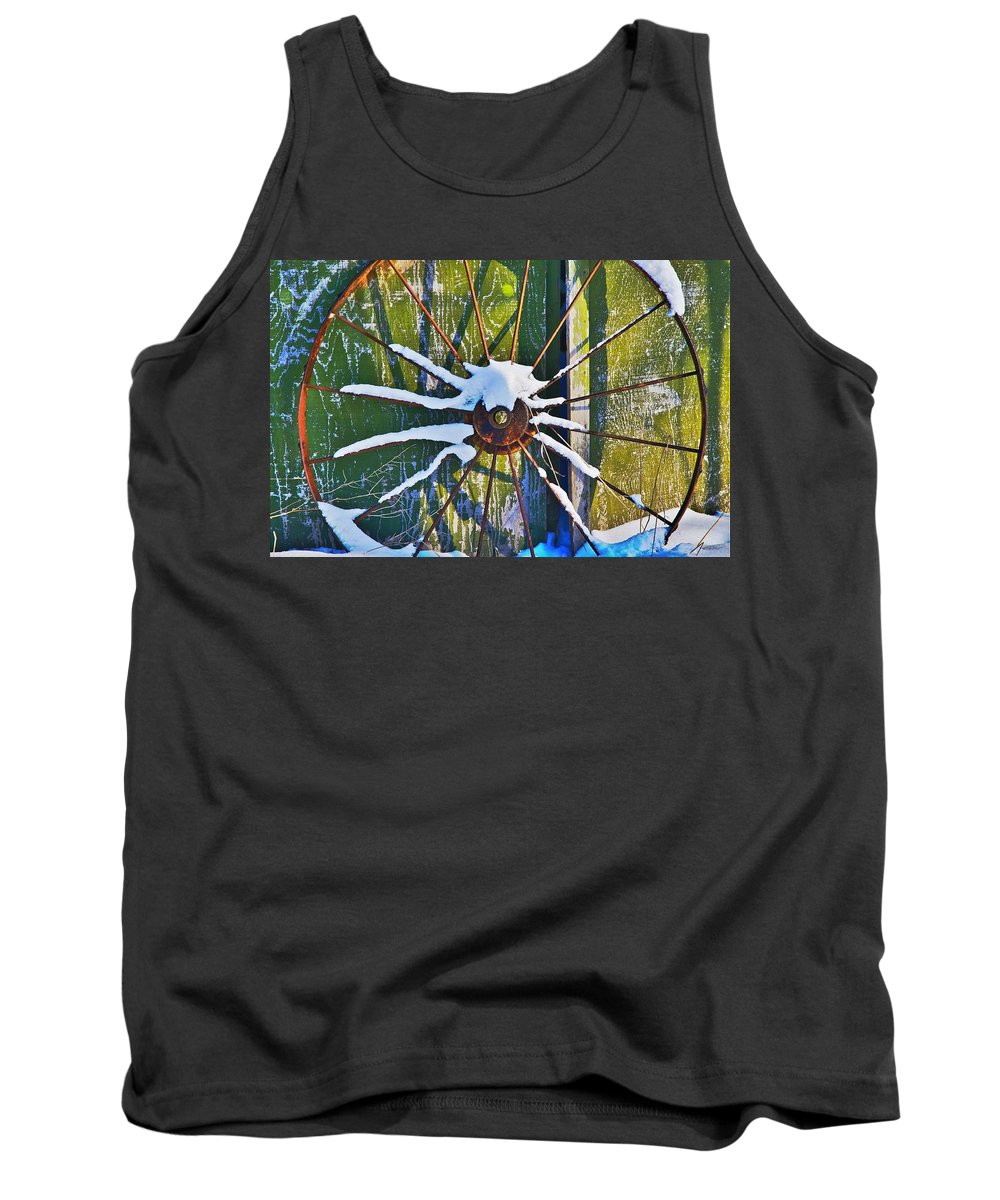 Iron Tank Top featuring the photograph Iron Wheel by Robert Pearson