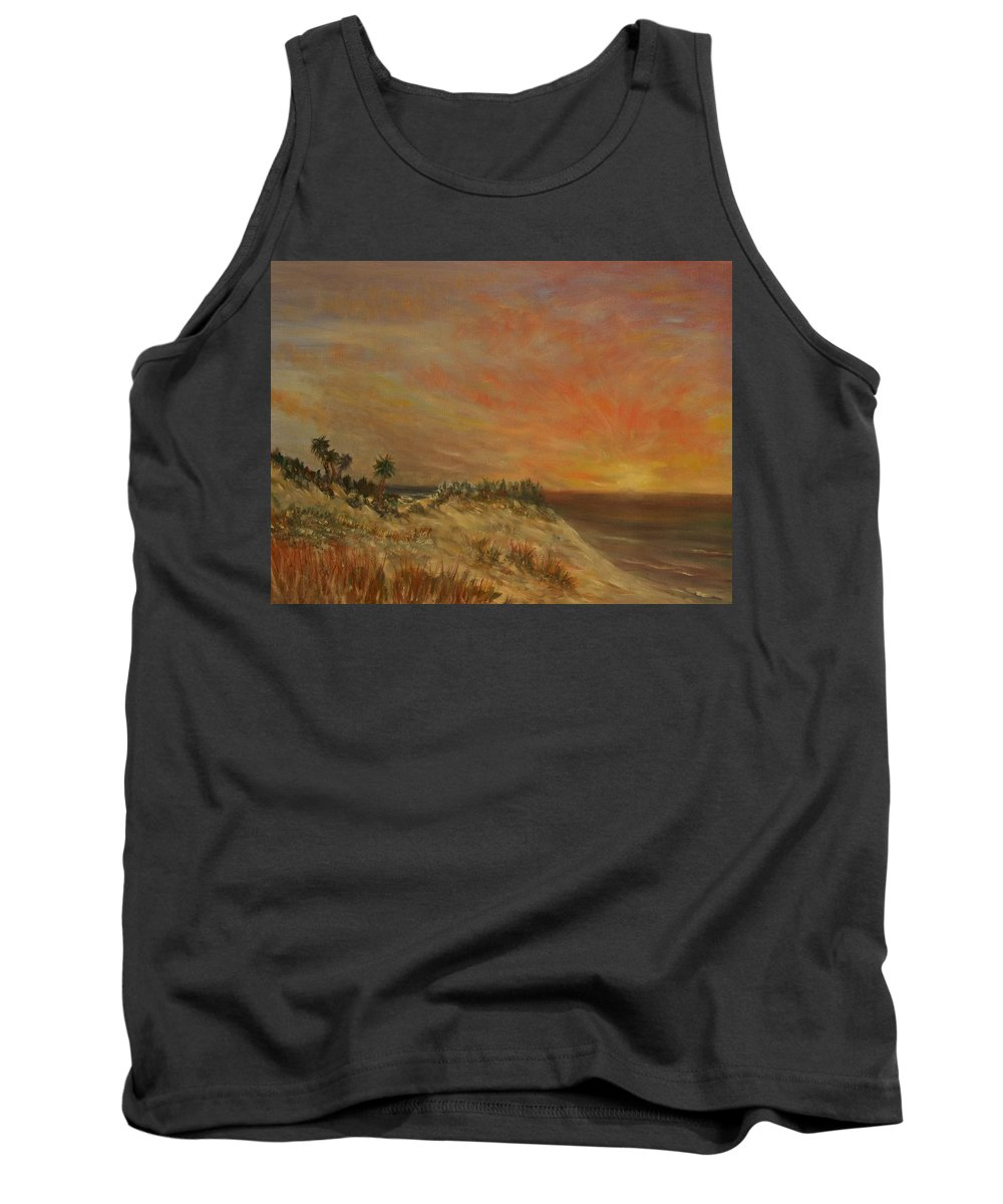 Sunset;beach;ocean;palm Trees Tank Top featuring the painting Island Sunset by Ben Kiger