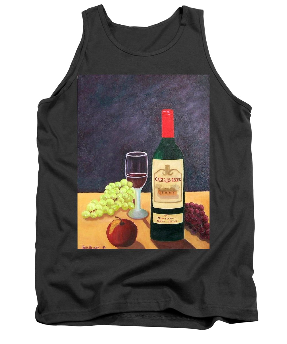 Still Life Tank Top featuring the painting Italian Wine And Fruit by Ruth Housley
