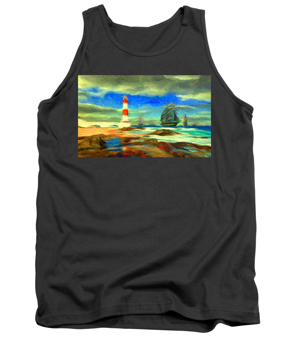 Itapua Tank Top featuring the digital art Itapua Lighthouse 1 by Caito Junqueira